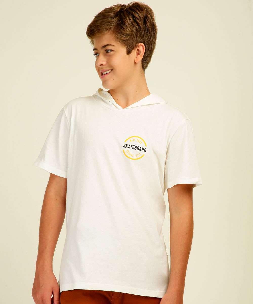 Camiseta Juvenil Manga Curta Capuz MR Tam 10 a 16