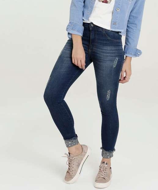 Image_Calça Feminina Jeans Puídos Pedrarias Skinny Biotipo