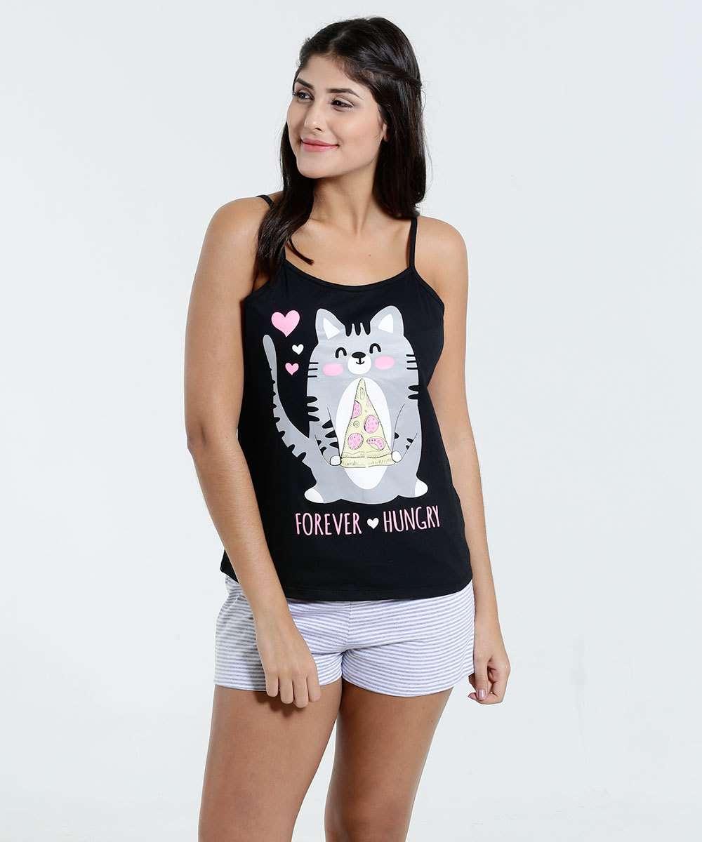 e5b5b3f2f5df25 Pijama Short Doll Feminino Estampa Gato Marisa | Marisa