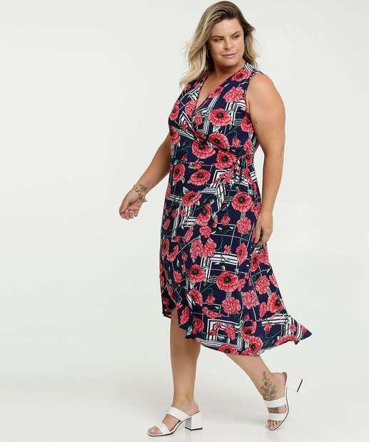 Image_Vestido Feminino Transpassado Estampa Floral Plus Size