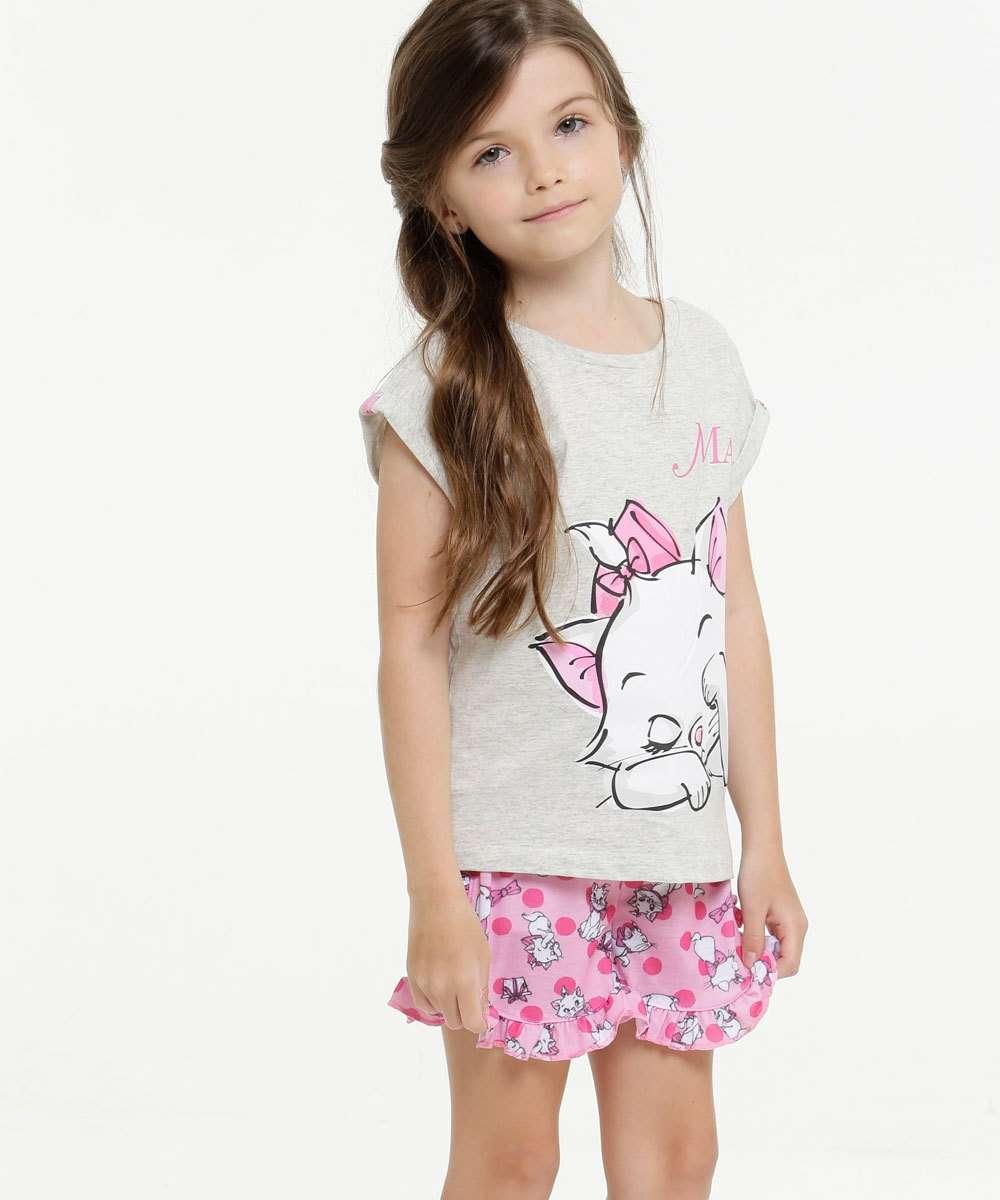 Pijama Infantil Estampa Marie Manga Curta Disney