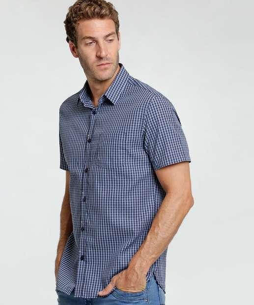 Image_Camisa Masculina Estampa Quadriculada Manga Curta