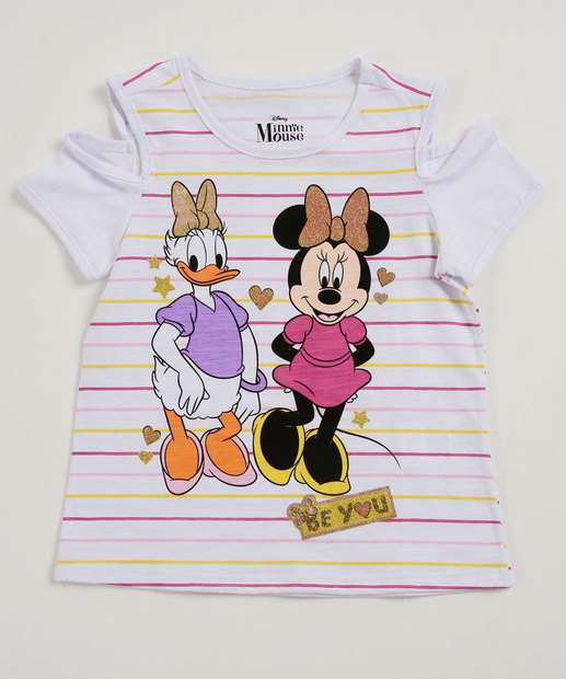 Image_Blusa Infantil Open Shoulder Estampa Minnie e Margarida Disney