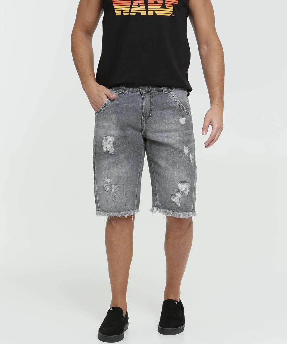 Bermuda Masculina Jeans Destroyed Bolsos Razon