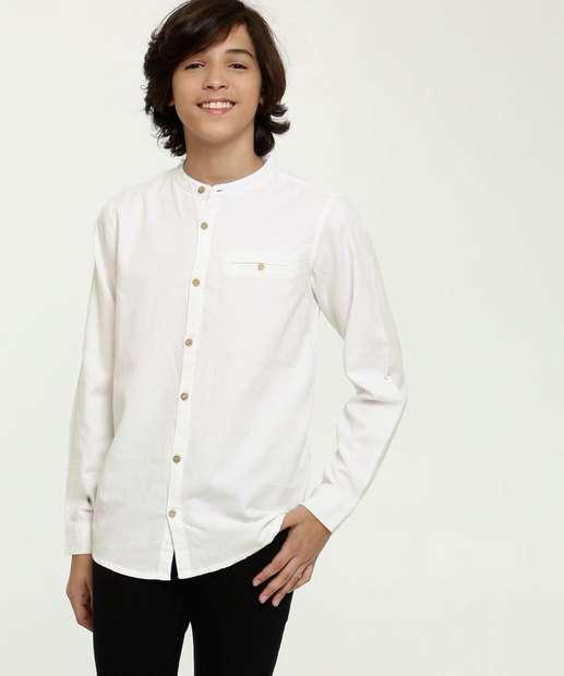 Image_Camisa Juvenil Textura Gola Padre Manga Longa MR