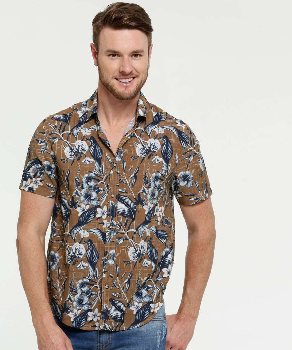 Camisa Masculina Estampa Tropical Manga Curta Marisa
