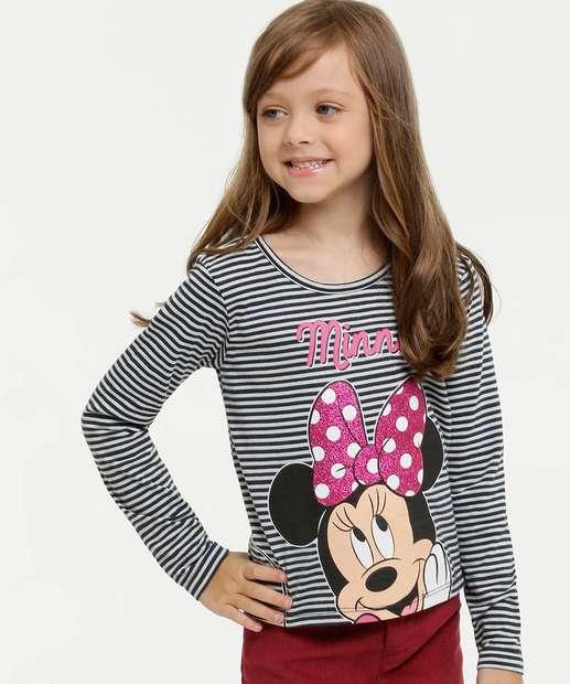 Image_Blusa Infantil Listrada Minnie Manga Longa Disney