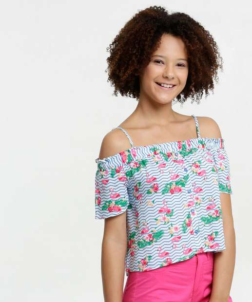 Image_Blusa Juvenil Open Shoulder Estampa Flamingo Manga Curta Marisa