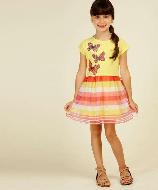 Image_Vestido Infantil Estampa Borboleta Tam 4 a 10