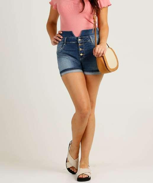 Image_Short Feminino Jeans Botões Sawary