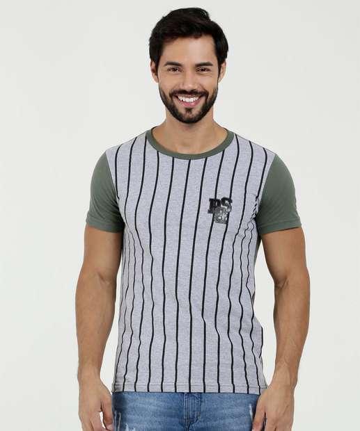 Camiseta Masculina Estampa Listras Manga Curta Rock   Soda a888791207680