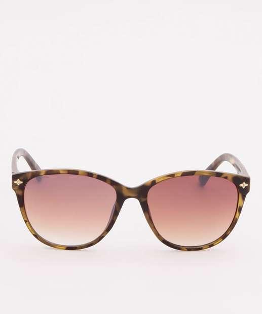 Image_Óculos de Sol Feminino Redondo Estampa Tartaruga Marisa