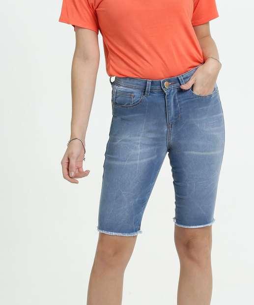 Image_Bermuda Feminina Jeans Barra Desfiada Marisa