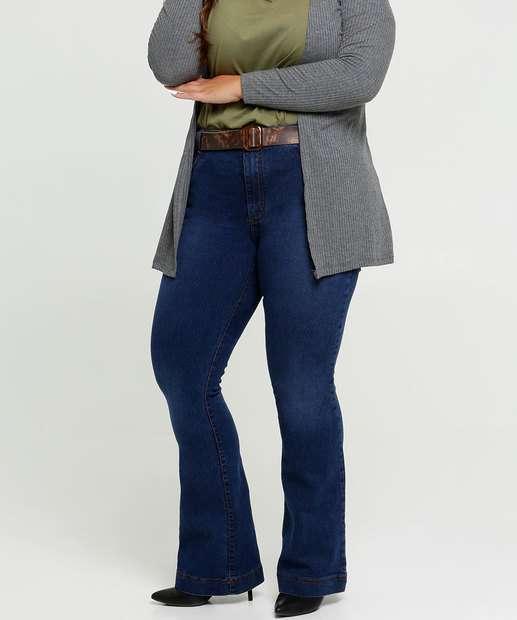 Image_Calça Jeans Flare Feminina Plus Size Cinto