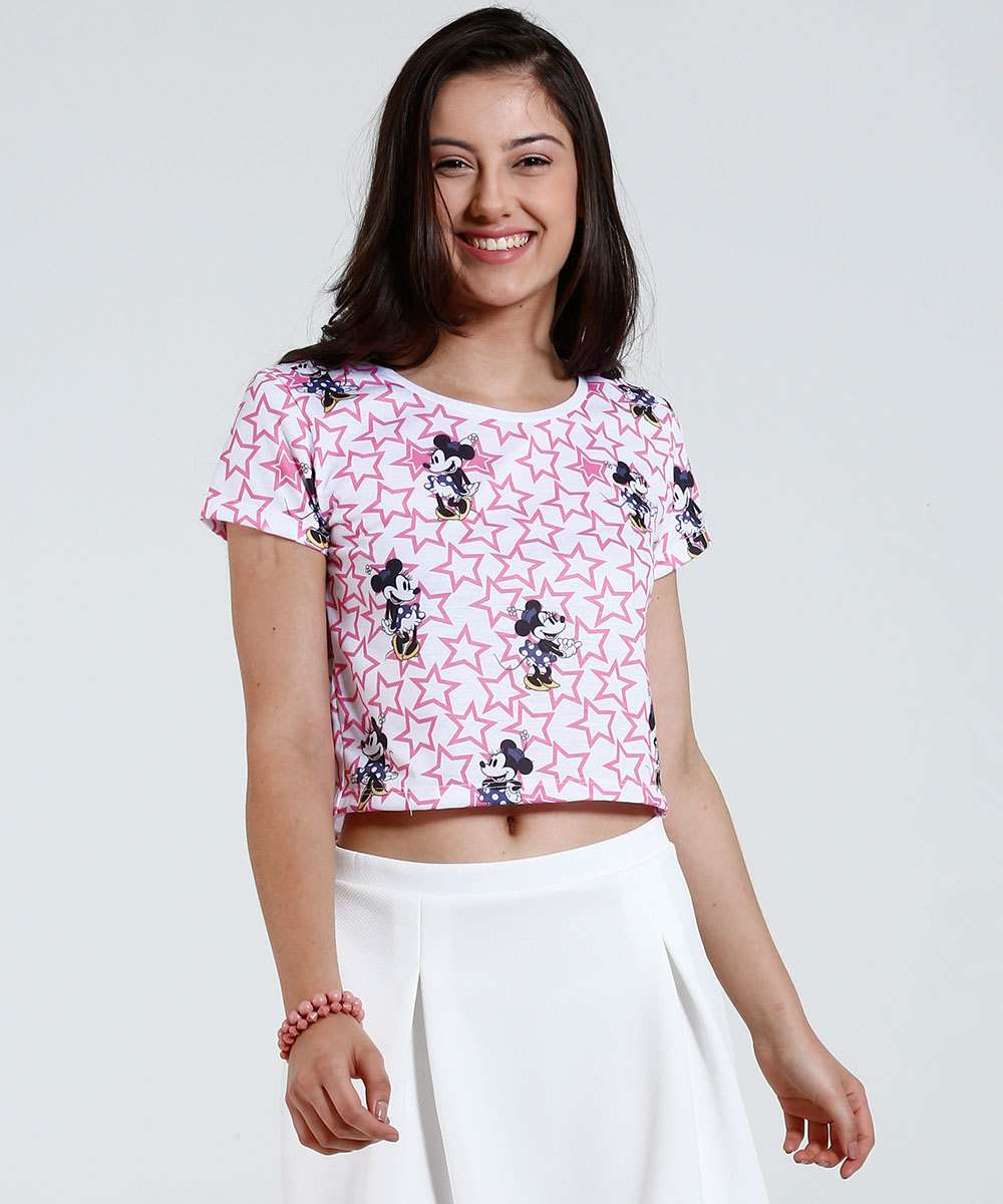 419508a83b Blusa Juvenil Cropped Minnie Disney