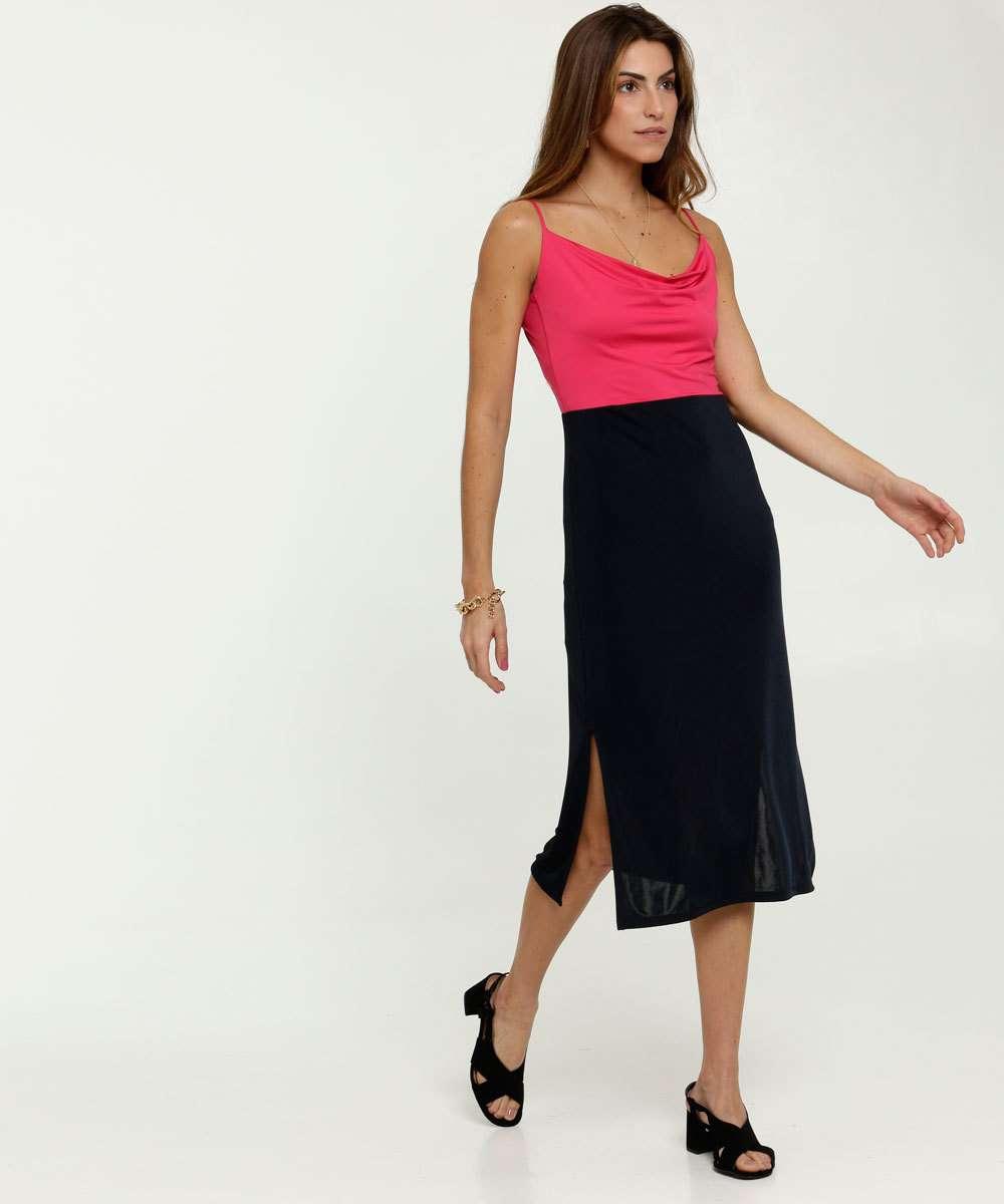 Vestido Feminino Midi Bicolor Alças Finas Marisa
