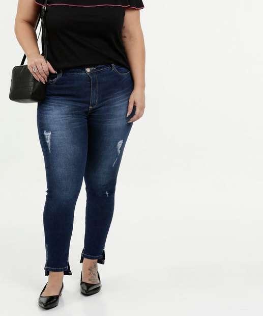 Image_Calça Feminina Jeans Cigarrete Puidos Plus Size Razon
