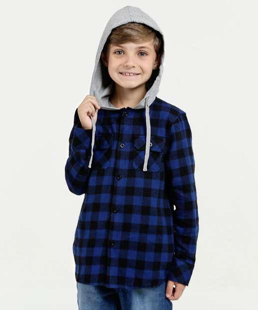 Image_Camisa Infantil Estampa Xadrez Capuz Flanelada
