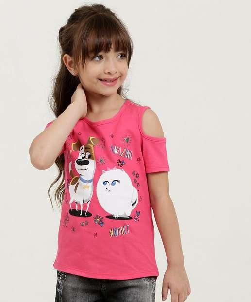 Image_Blusa Infantil Open Shoulder Estampa Pets Universal