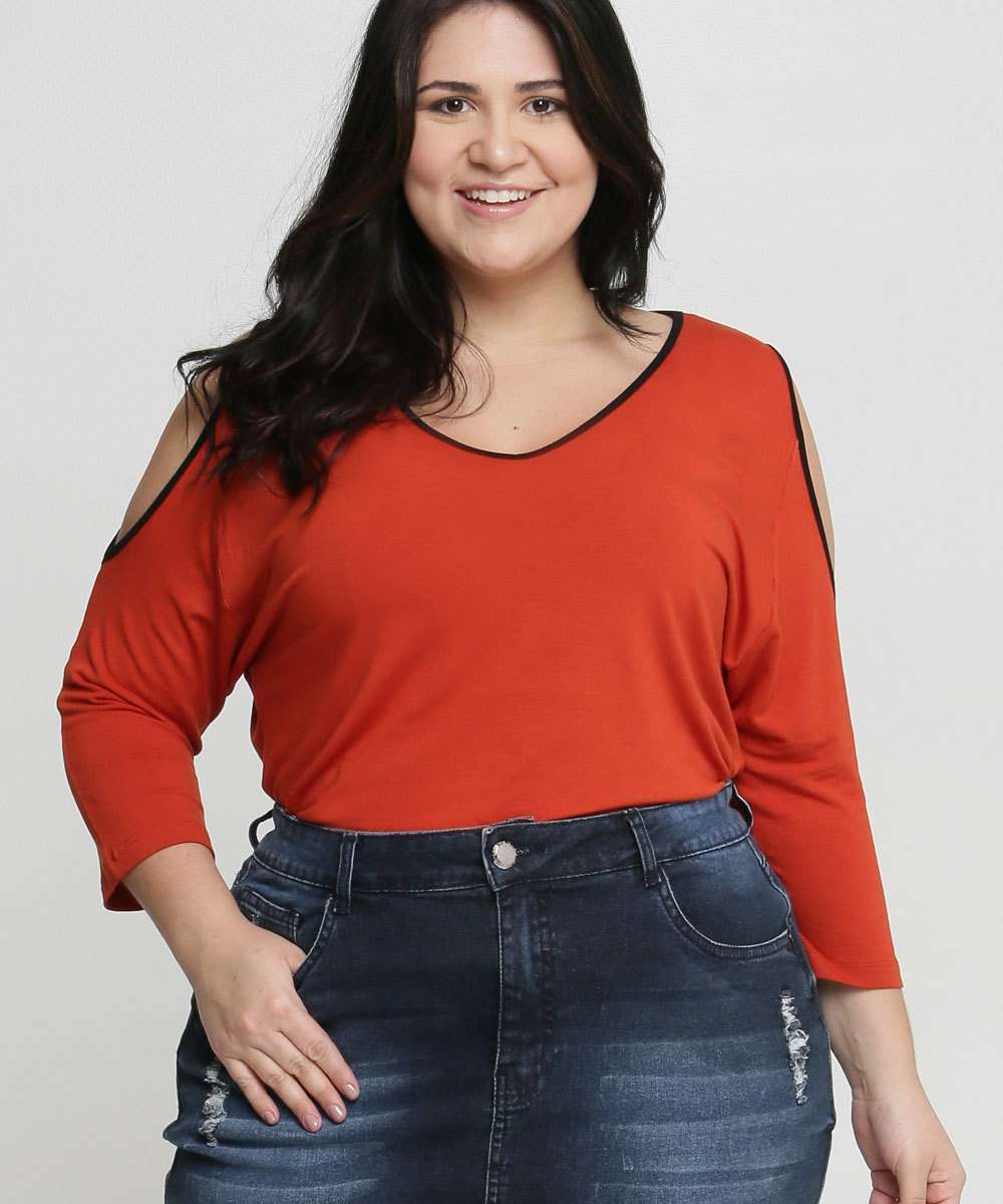 Blusa Feminina Open Shoulder Viés Plus Size