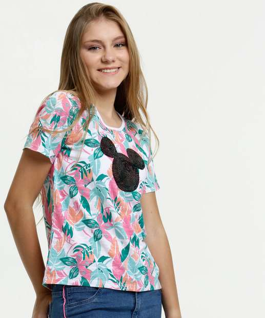 Image_Blusa Juvenil Estampa Tropical Paetês Mickey Disney