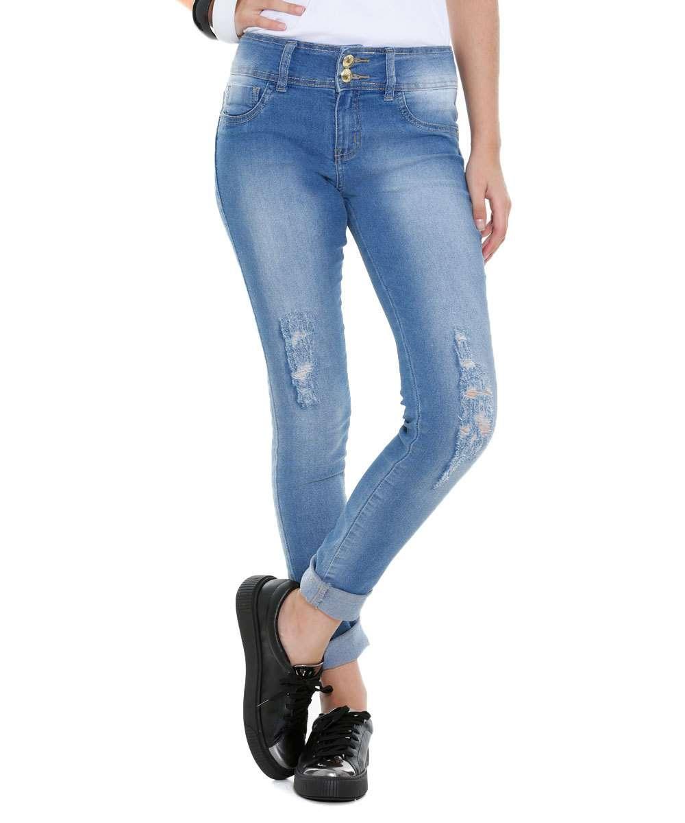 Calça Juvenil Cigarrete Jeans Puído Marisa