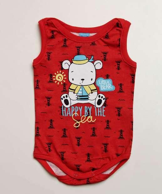 Image_Body Infantil Bebê Estampa Urso Sem Manga