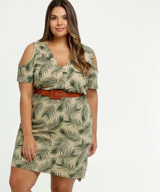 Image_Vestido Feminino Open Shoulder Folhas Plus Size