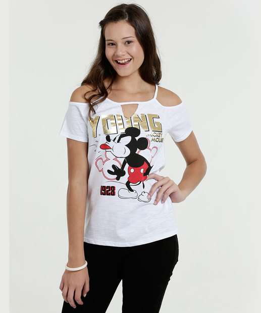 Image_Blusa Juvenil Open Shoulder Estampa Mickey Disney