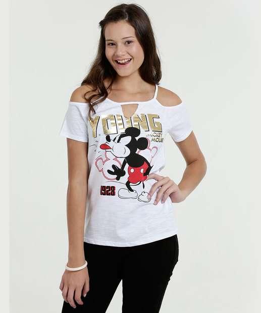 Image_Blusa Juvenil Open Shoulder Estampa Mickey Disney