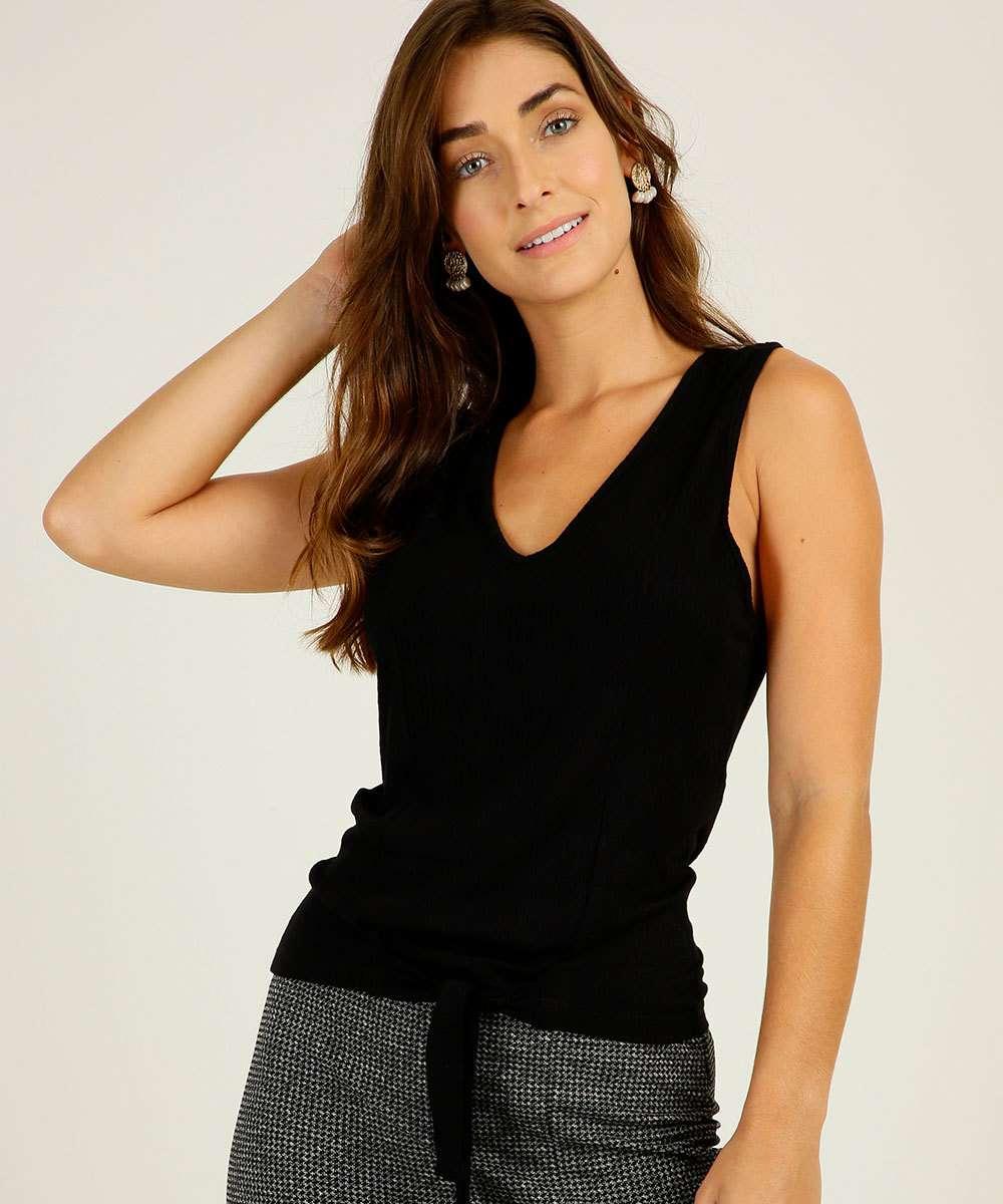 Blusa Feminina Crepe Textura Amarração Marisa
