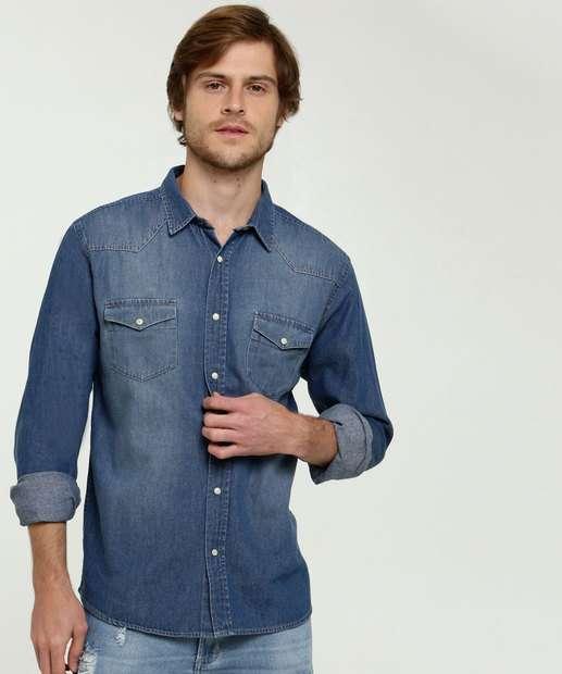 Image_Camisa Masculina Jeans Manga Longa MR