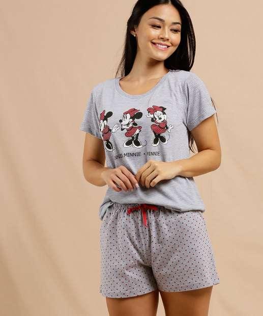 Image_Pijama Feminino Estampa Minnie Manga Curta Disney