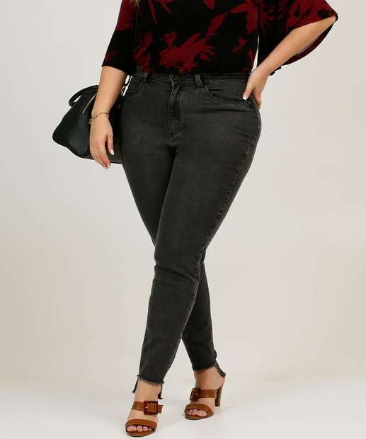 Image_Calça Plus Size Feminina Jeans Skinny Barra Desfiada