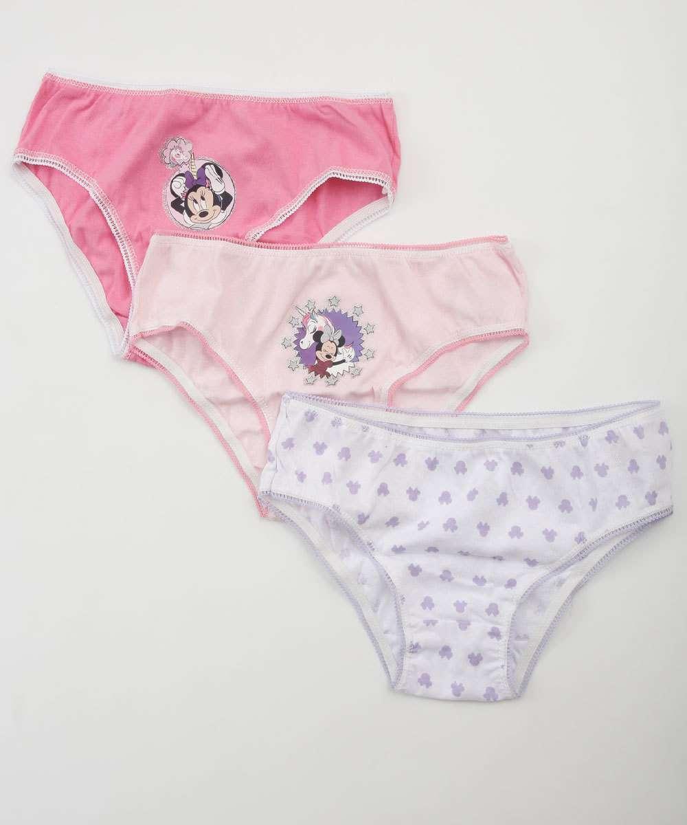 Kit 3 Calcinhas Infantil Estampa Minnie Disney