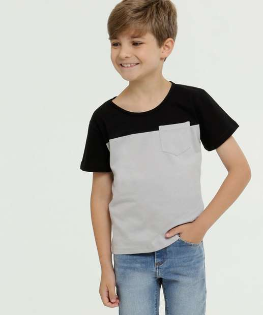 Image_Camiseta Infantil Bicolor Bolso Manga Curta