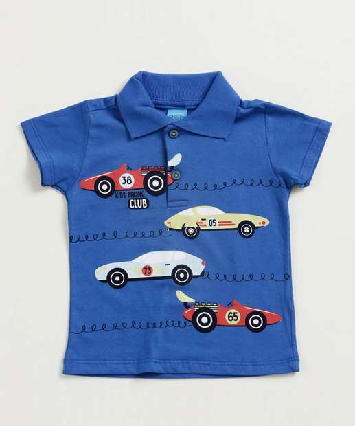 Image_Camisa Polo Infantil Estampa Carros Manga Curta