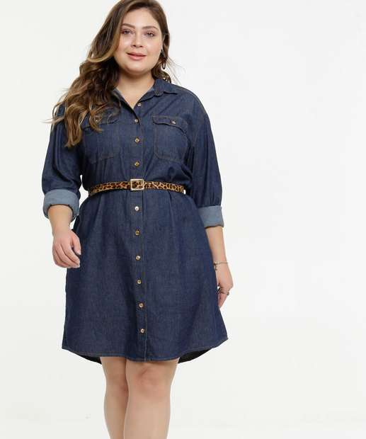 Image_Vestido Plus Size Chemise Jeans Feminino Cinto