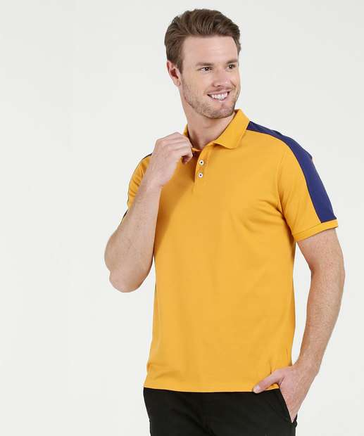 41f53fa17c Polo Masculina Recorte Manga Curta Mr