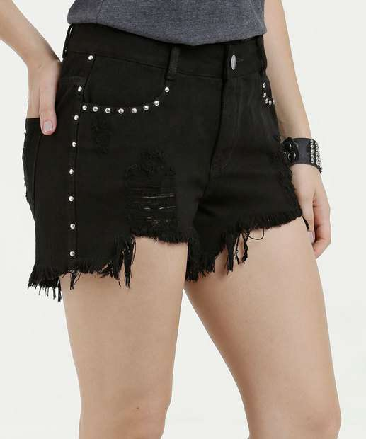 Image_Short Feminino Jeans Destroyed Tachas Marisa