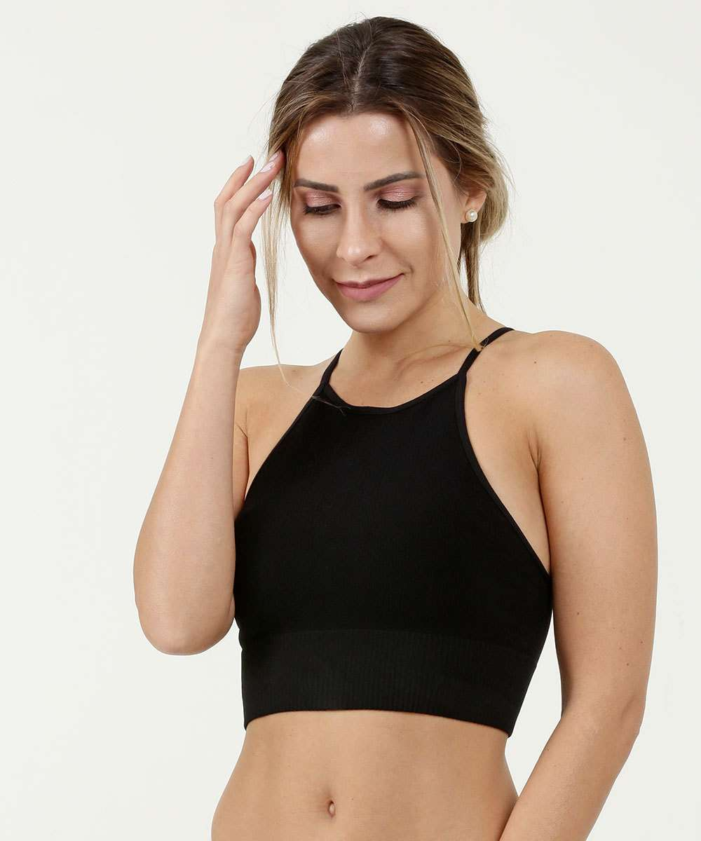 Sutiã Feminino Top High Neck Canelado DeMillus
