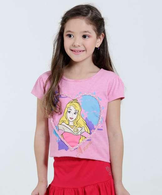Image_Blusa infantil Estampa Aurora Coração Disney