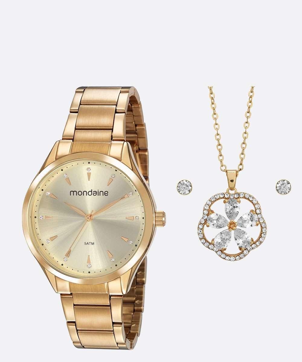 Kit Relógio Feminino Strass Mondaine 53817LPMVDE1KB