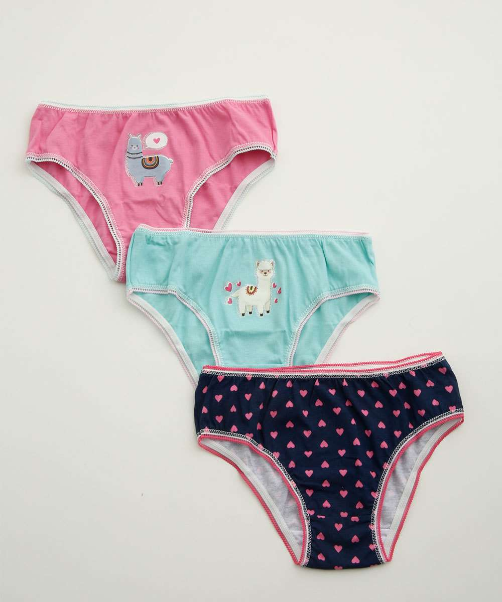 Kit 3 Calcinhas Infantil Estampada Marisa