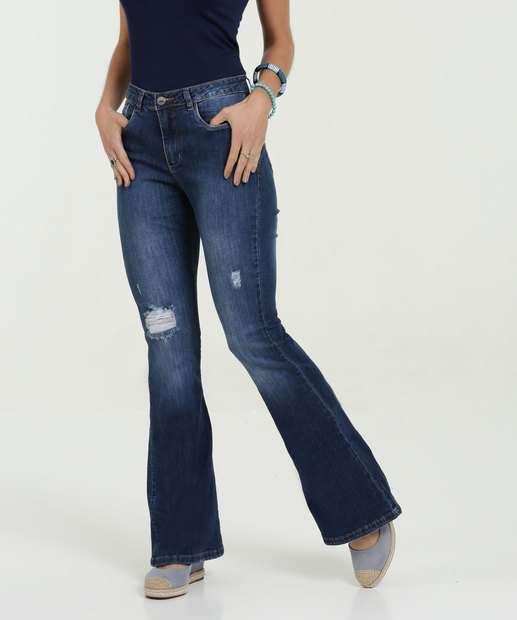 Image_Calça Feminina Jeans Flare Destroyed Razon