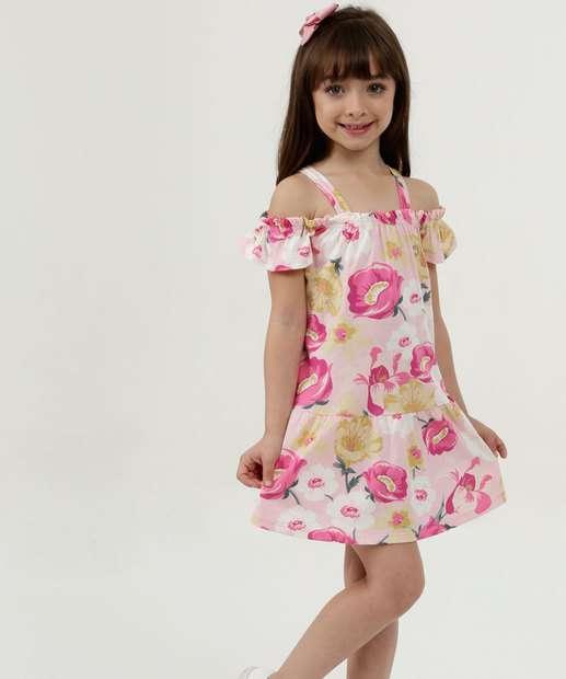 Image_Vestido Infantil Open Shoulder Estampa Floral Manga Curta