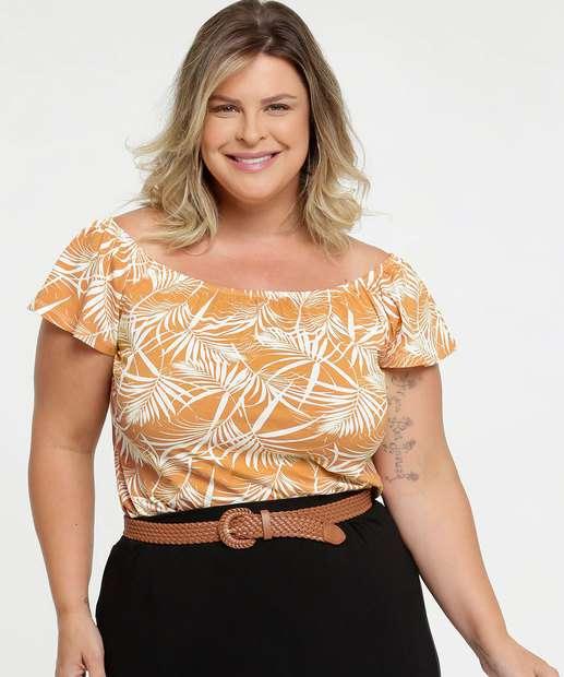 Image_Blusa Feminina Ombro a Ombro Tropical Plus Size