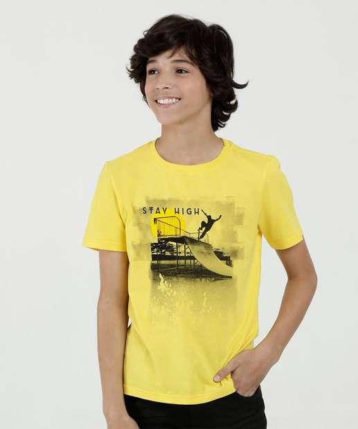 2ffc525d32a27 Camiseta Juvenil Estampa Frontal Manga Curta Marisa