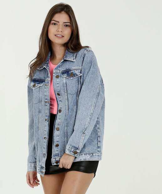 de83faf1be Jaqueta Feminina Jeans Bolsos Marisa