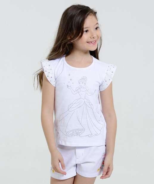 Image_Blusa Infantil Princesas Tule Metalizado Disney